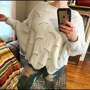 Scalloped   Open Knit Batwing Sweater